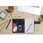 Top view workspace mockup on wood table with notebook, pen, coff